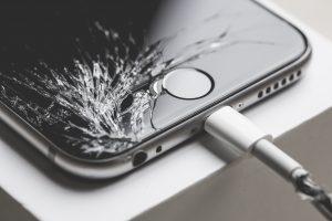 Image of a broken iPhone 7 smartphone